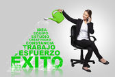 Business woman -success concept with spanish words — Stock Photo
