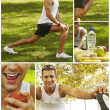 Stock Photo: Collage of sport mstretching, hydrating and feeding