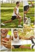 Collage of sport man stretching, hydrating and feeding — Stock Photo