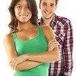 Stock Photo: Young happy smiling couple - isolated