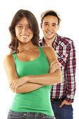 Jovem casal sorridente feliz - isolado — Foto Stock