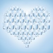 Glasses of water shaped with heart. Healthy — Stock Photo #18462637
