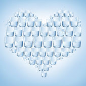 Glasses of water shaped with heart. Healthy — Stock Photo
