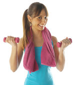 Smiling fitness woman lifting weights — Stock Photo