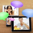 Digital tablets and smart phone with images and bubbles chat icon — Stock Photo
