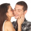 Lovely couple. Girl whispering her boy — Stock Photo