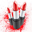 Red lipsticks isolated on white background — Stock Photo