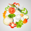 Assorted fresh vegetables flying - Stock Photo