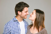 Portrait of a beautiful young happy smiling couple — Stock Photo