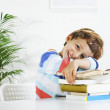 Schoolboy studying in home. — Stock Photo