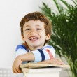 Smiling schoolboy studying in home. — Stock Photo