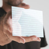 Scientific holding one pieces transparent of graphene — Stock Photo