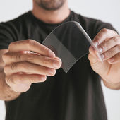 Scientific holding one piece transparent of graphene. — Stock Photo