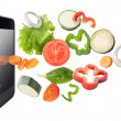 Tablet and vegetables isolated. Recipes application concept. — Stock Photo