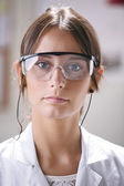 Portrait of scientific woman with glasses. — Stock Photo