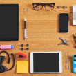 Stock Photo: Contents of business workspace organized and composed.