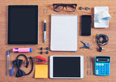 The contents of a business workspace organized and composed. — Stock Photo