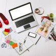 Overhead of a essentials objects in a fashion blogger — Stock Photo