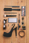 Overhead of essentials fashion woman objects. — Stock Photo