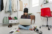 Casual blogger woman working in her fashion office. — Stock Photo