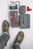 Man boots with valentines gifts box and old camera. Hipster ornaments. — Stock Photo