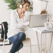 Mature businesswoman working with laptop at home. — Stock Photo
