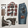 Stock Photo: Overhead of essentials modern man.