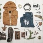 Overhead of essentials adventurer man. — Stock Photo #37642187