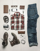 Overhead of essentials modern man. — Stock Photo