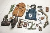 Overhead of essentials adventurer man. — Stock Photo