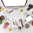 Stock Photo: Overhead of essentials objects of foodie girl.