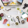Overhead of the essentials objects of a foodie girl. — Stock Photo #37758281