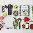 Stock Photo: Organized objects of foodie girl.