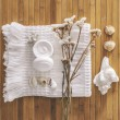 Stock Photo: Bathroom set on wood background.