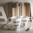 Two white coffee mug with diy decoration on vintage effect. — Stockfoto