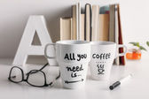 Two white coffee mug with diy decoration. — Stock Photo