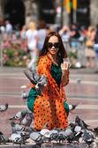 Pigeons feeding. — Stock Photo