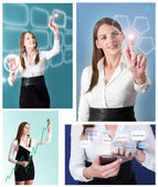 Collage of Futuristic Businesswoman — Stock Photo