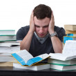 Young Student overwhelmed with studying — Stock Photo