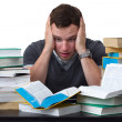 Young Student overwhelmed with studying — Stockfoto