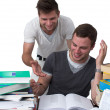 Two young men studying together — Foto Stock