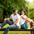 Young beautiful couple dating - Stock Photo