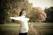 Enjoying life - expecting child in pregnancy — Stock Photo