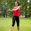 Warm up exercise - sport woman — Stock Photo