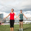 Stock Photo: Workout with skipping rope