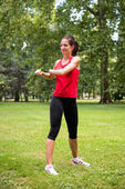 Warm up exercise - sport woman — Foto Stock