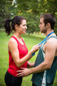 Young sport couple in love — Stock Photo
