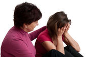 Problems - senior mother comforts daughter — Stock Photo