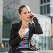 Business woman calling phone - problems — Stock Photo