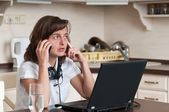 On the phone - work from home — Stock Photo